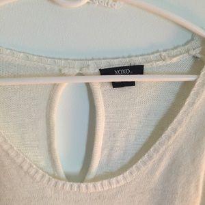 Keyhole back white sweater dress